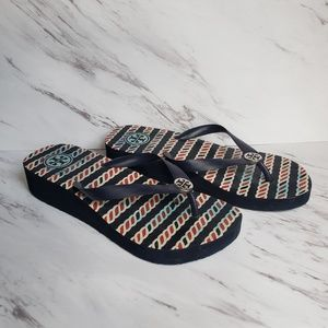 Tory Burch Wedge Flip Flop Sandals Size 8